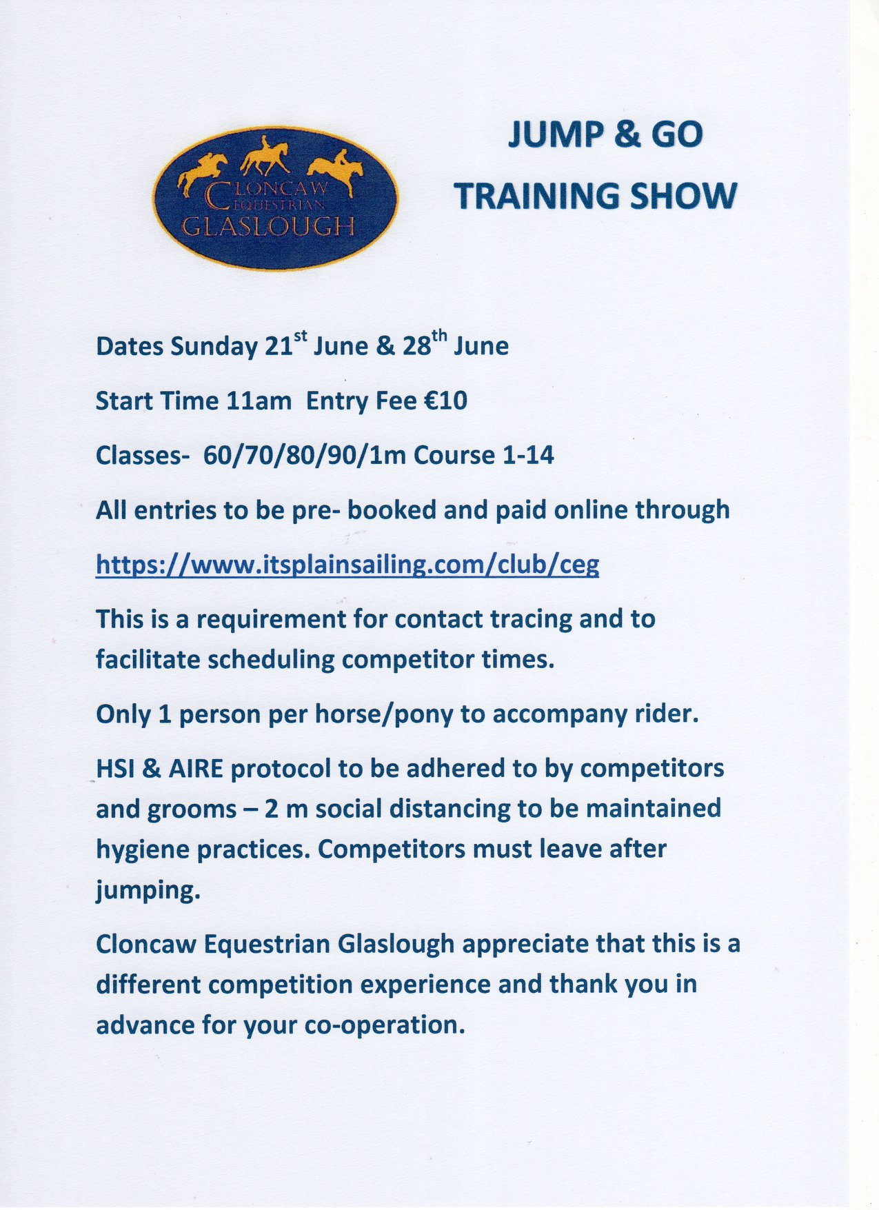 Jump and Go Training Show