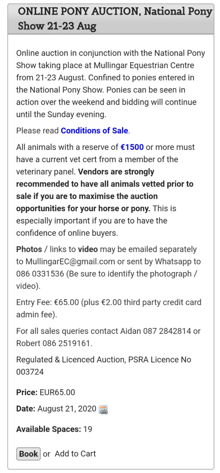 ONLINE PONY AUCTION – National Pony Show 21st to 23rd August