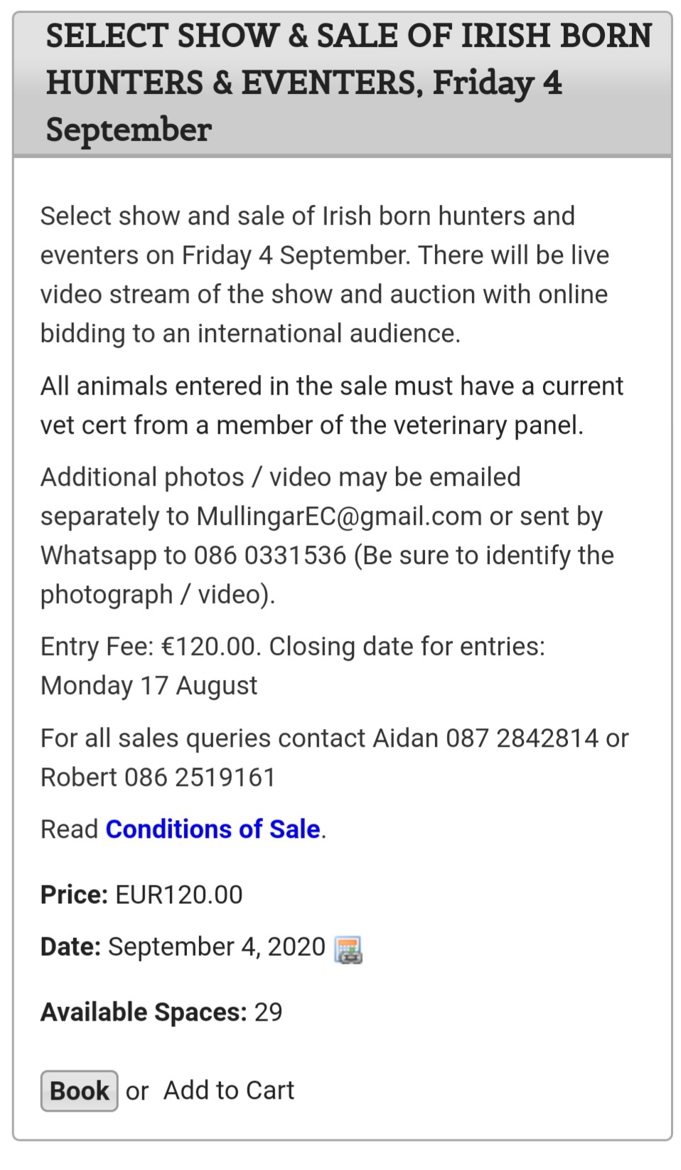 SELECT SHOW AND SALE of Irish Born Hunters & Eventers
