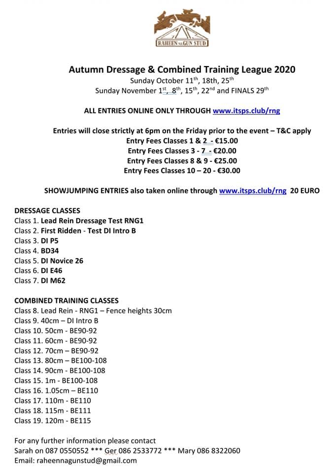 Autumn Dressage & Combined Training League