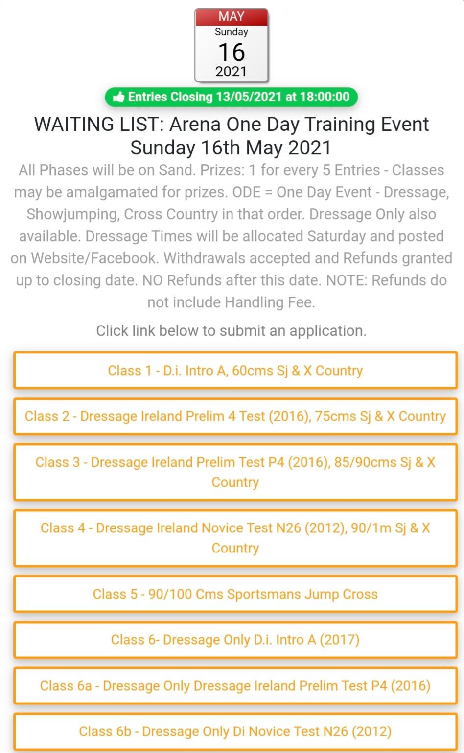 One Day Event at Claremorris Eq Centre