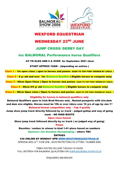 JUMP CROSS/DERBY inc BALMORAL PERFORMANCE HORSE QUALIFIERS