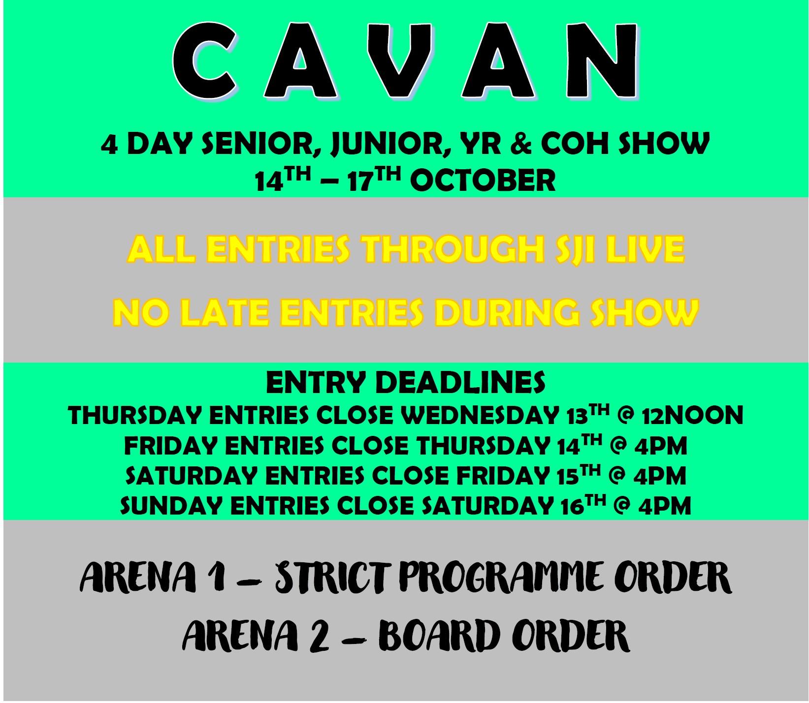 Cavan 4 Day Senior, Junior, YR & COH Show